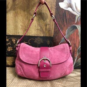 Coach Suede Leather Pink Vintage Shoulder Bag
